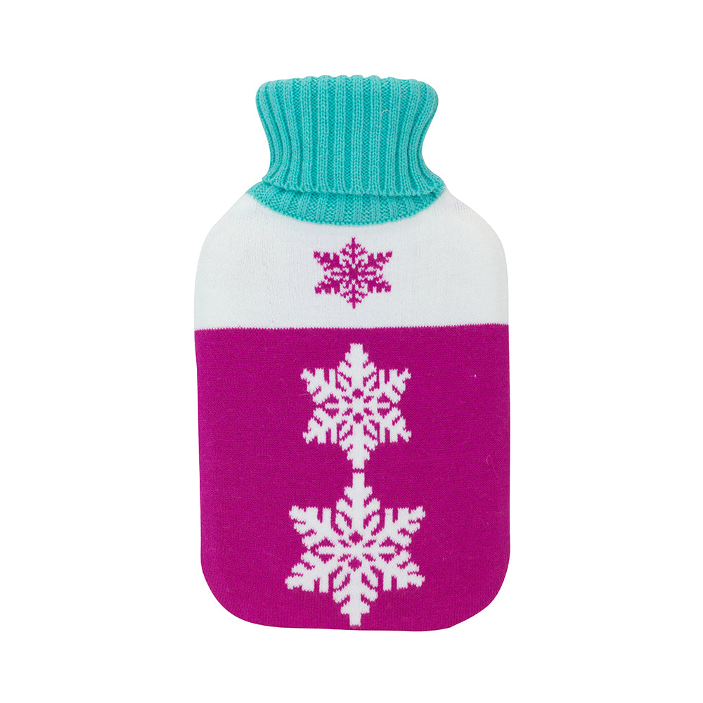 Pink and white snowflakes hot water bottle cover