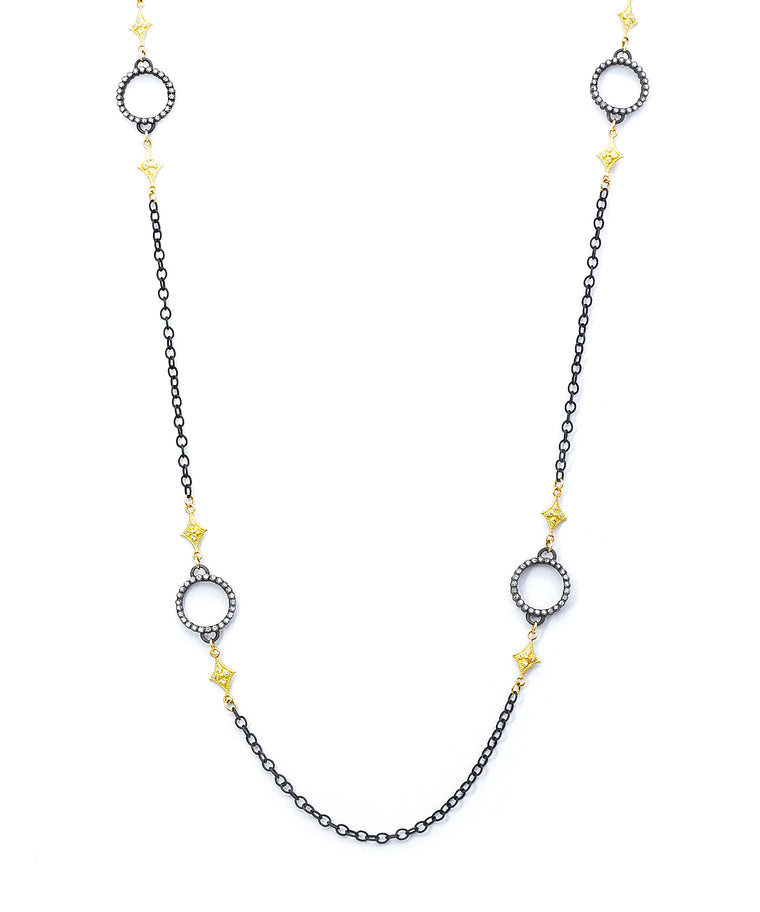 Old world long chain with diamond circles - Lesley Ann Jewels