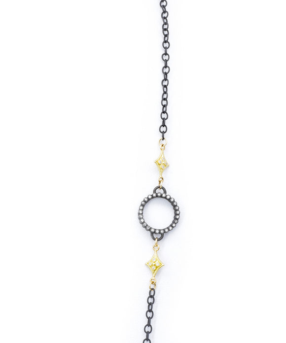 Old world long chain with diamond circles