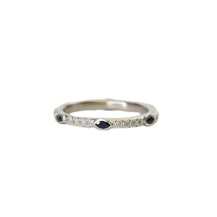 Stack band with sapphires