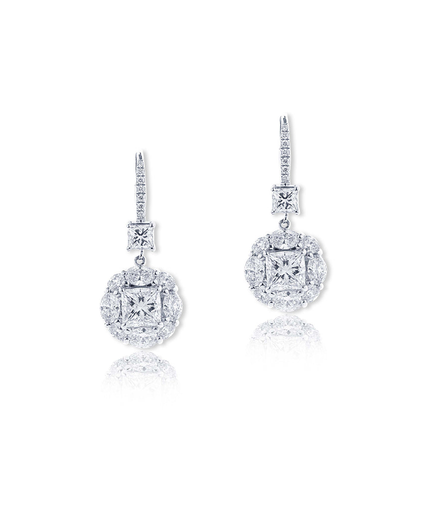 Platinum flower cluster earrings - Lesley Ann Jewels