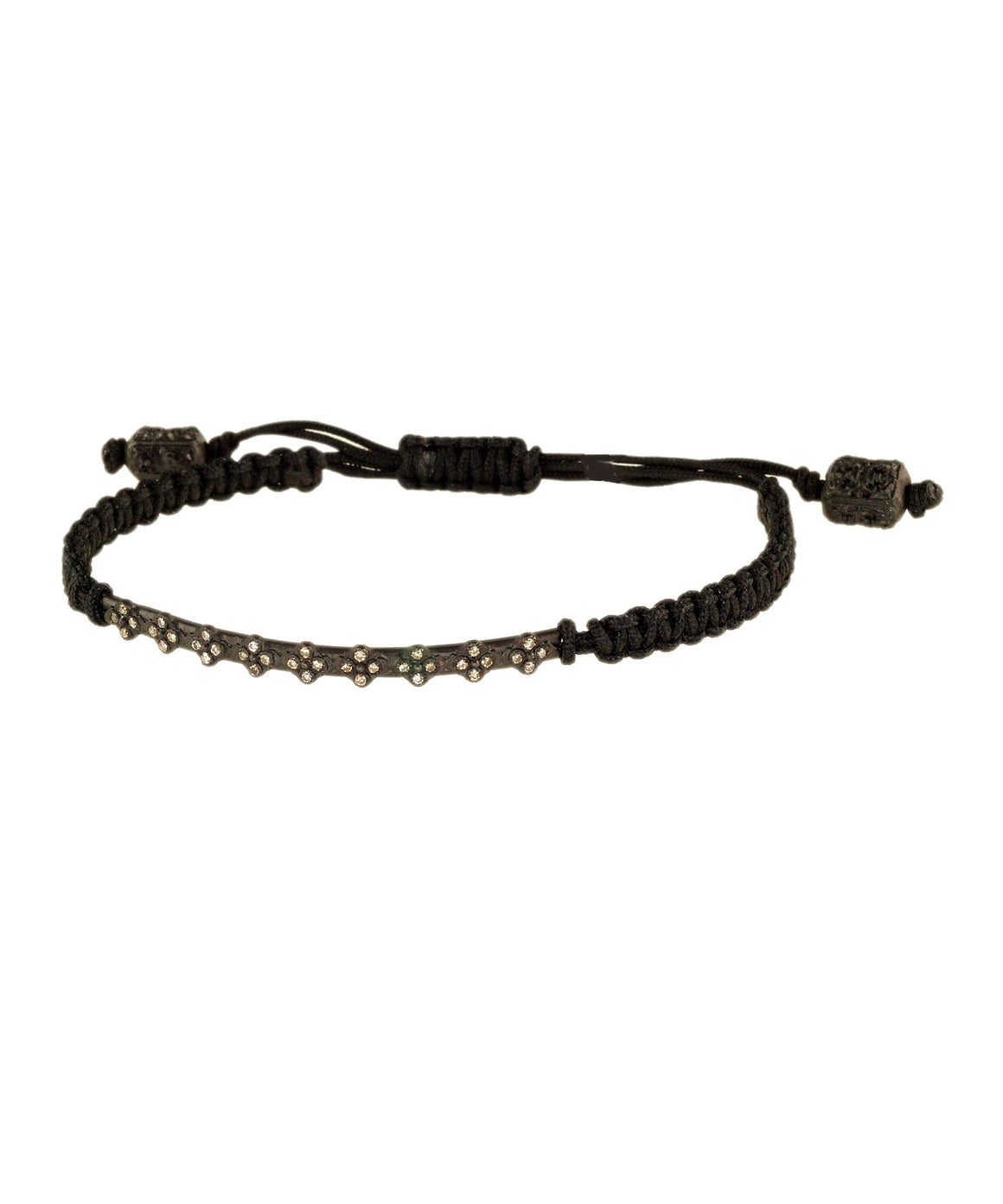 This casual little bracelet is woven of black cord. The sterling silver bar at the front is set with champagne diamonds. The length adjusts with the two textured pull bars at the end,