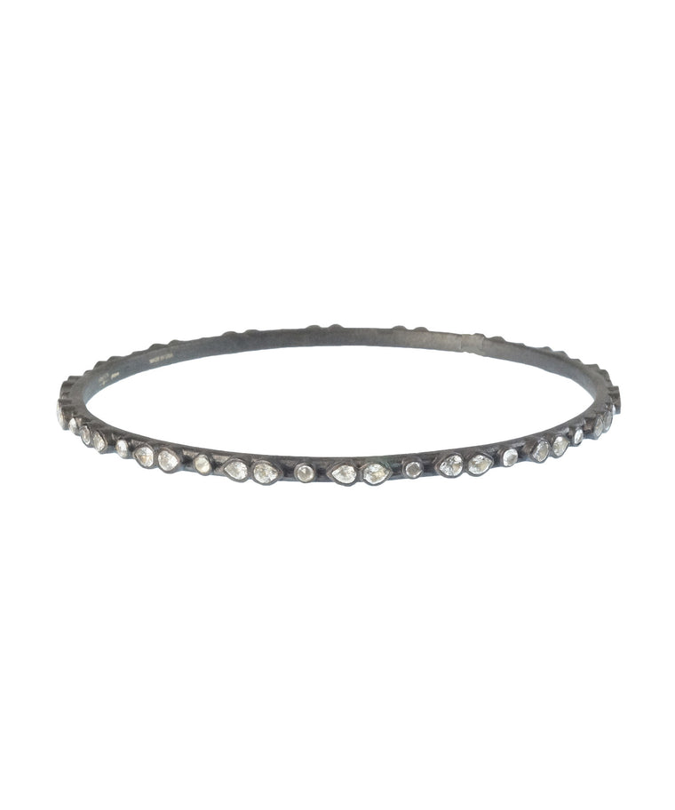 Midnight bangle with white sapphires - Lesley Ann Jewels