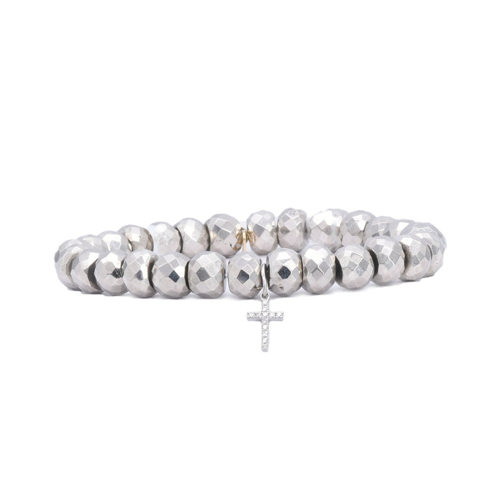 Cross Charm on Pyrite Bead Bracelet - Lesley Ann Jewels