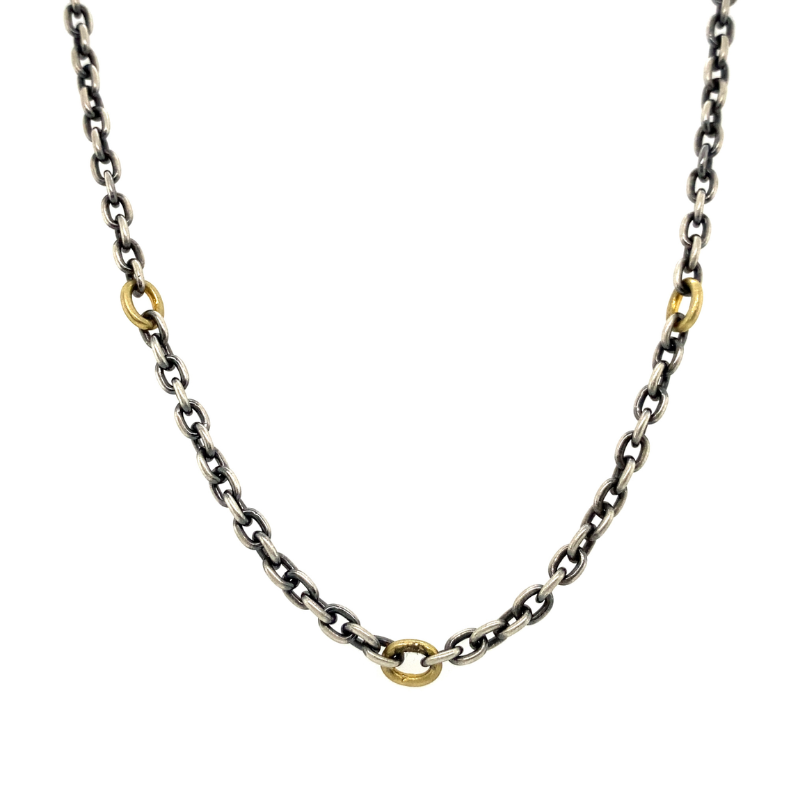 Oxidized Sterling Silver and Yellow Gold Link Long Chain - Lesley Ann Jewels