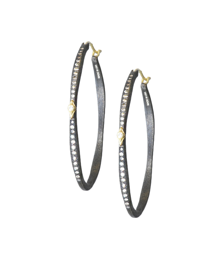 Midnight oval hoops with diamonds - Lesley Ann Jewels