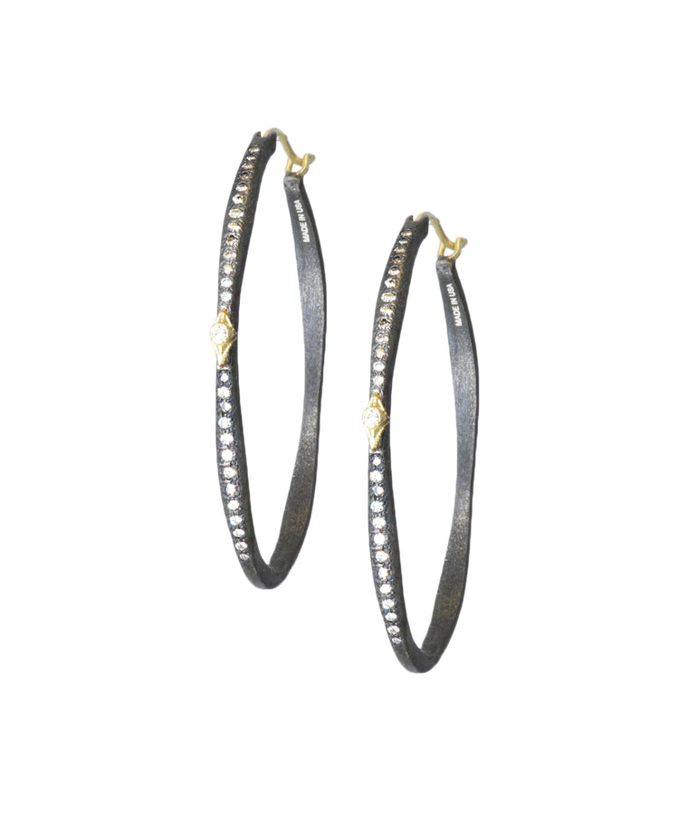 Midnight oval hoops with diamonds