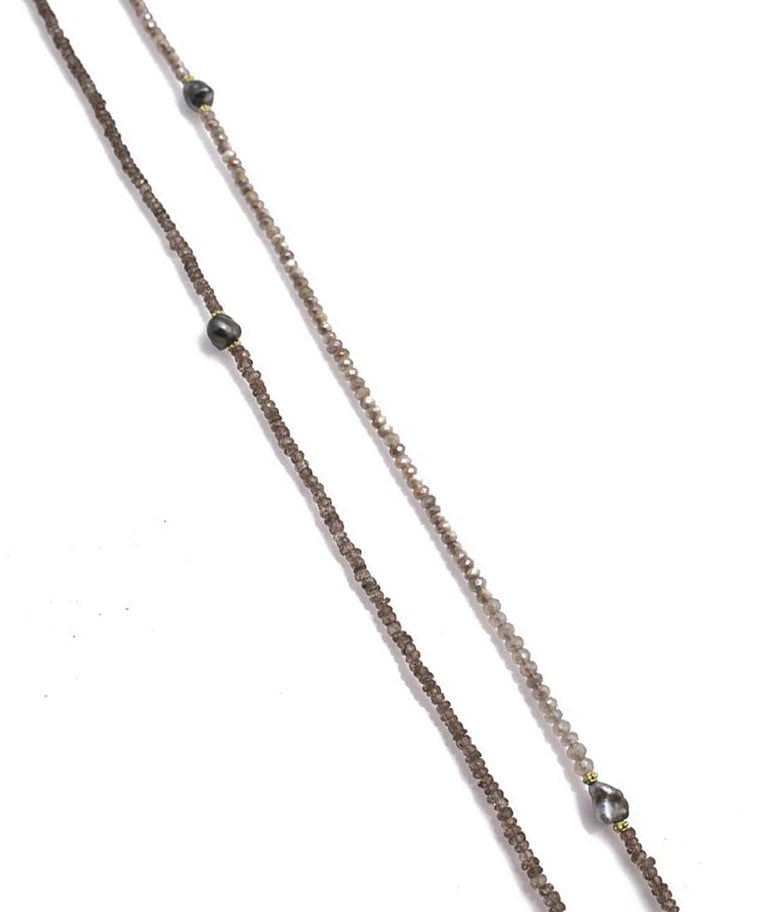 Long Pearl and Stone Necklace - Lesley Ann Jewels
