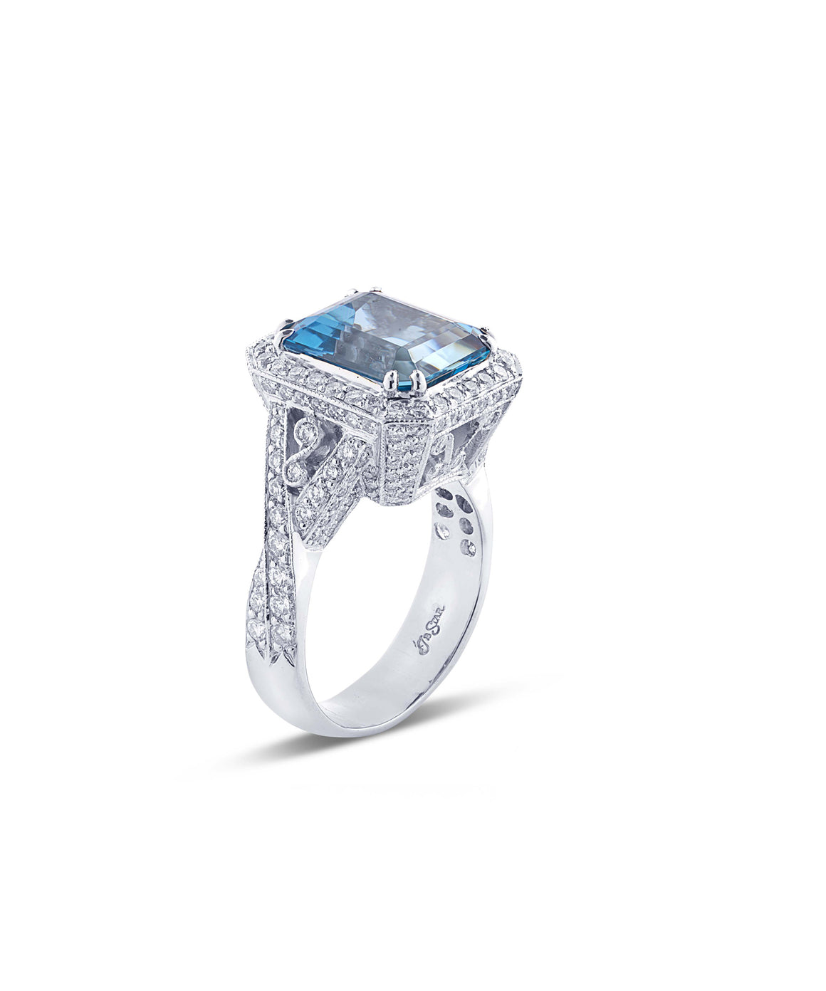Emerald cut aquamarine ring - Lesley Ann Jewels
