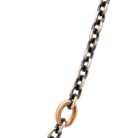 Oxidized Sterling Silver and Rose Gold Link Chain