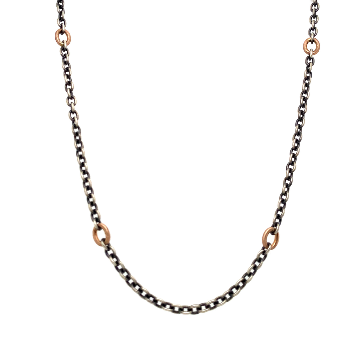 Oxidized Sterling Silver and Rose Gold Link Chain - Lesley Ann Jewels