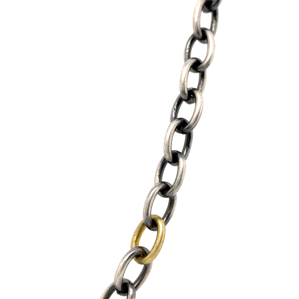 Oxidized Sterling Silver and Yellow Gold Chain - Lesley Ann Jewels