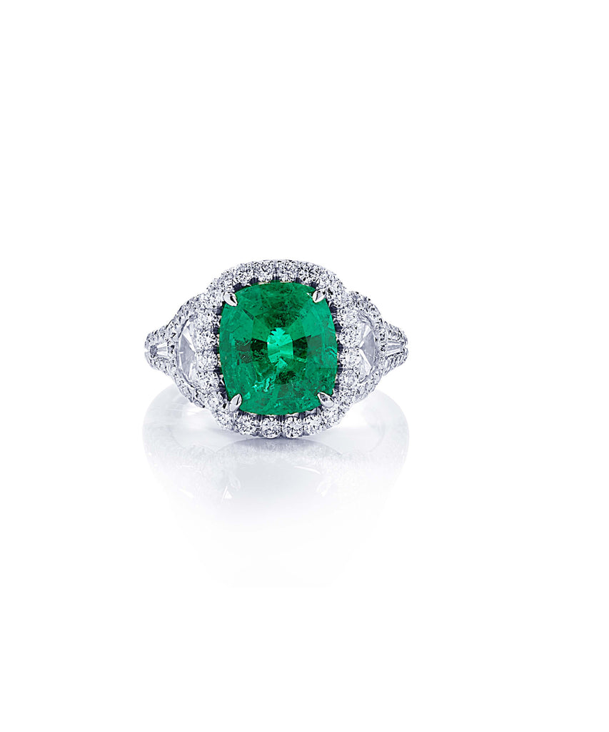 Vivid emerald and diamond ring - Lesley Ann Jewels