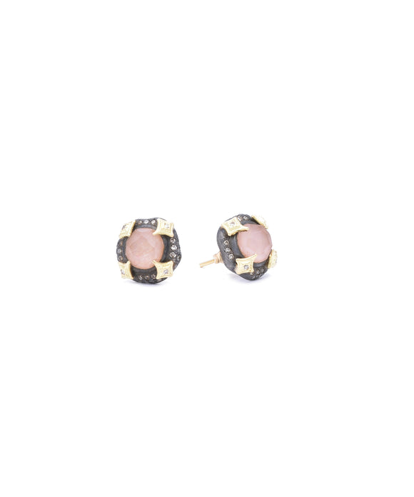 "These pretty little stud earrings feature a sunstone/quartz doublet. The 18k yellow gold and sterling silver earrings are further accented with diamonds. Each is about 7/16"" in diameter."