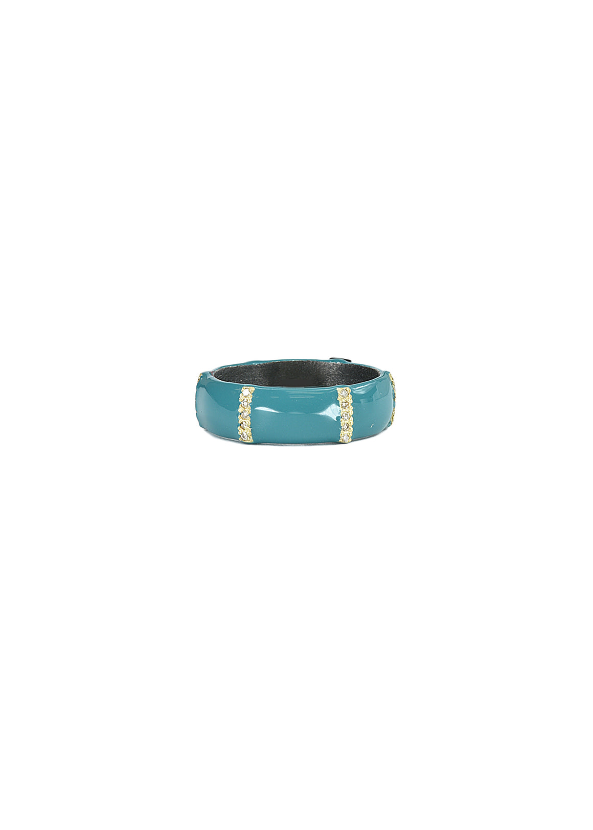 Teal enamel wide band