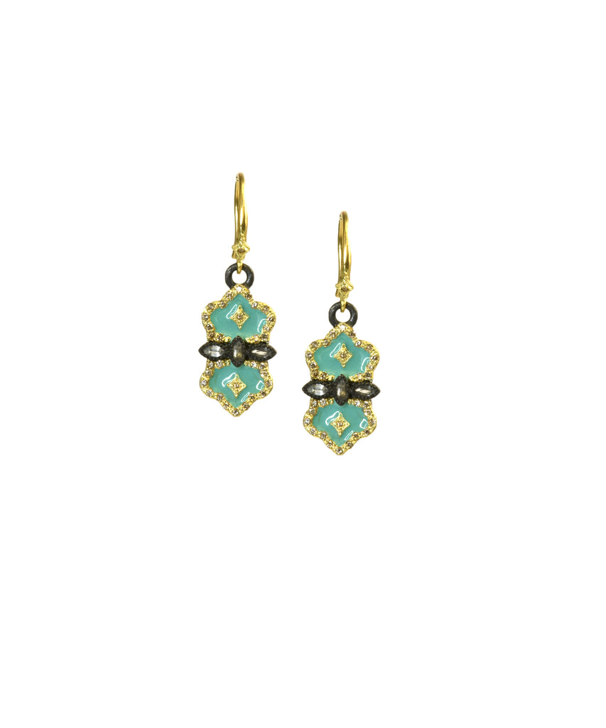 Earrings with turquoise enamel