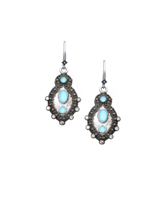 New World earrings with turquoise