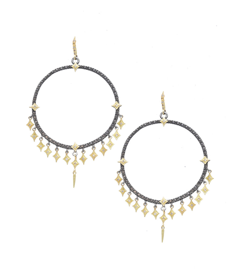 Circle earrings with fringe