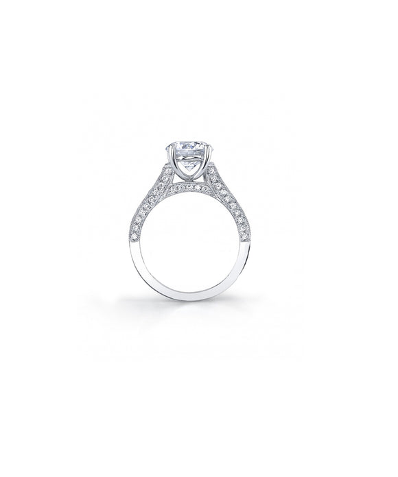 Round Diamond Pave Semimount - Lesley Ann Jewels