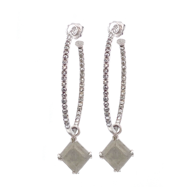 Grey Diamond Hoop Earrings - Lesley Ann Jewels