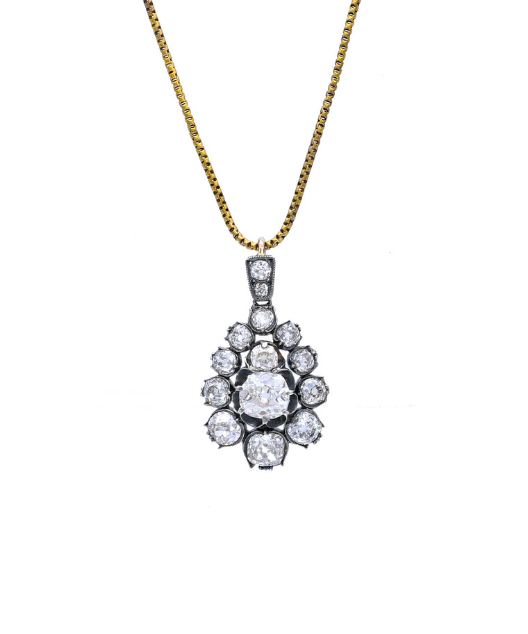Antique Old Mine Cut Diamond Pendant - Lesley Ann Jewels