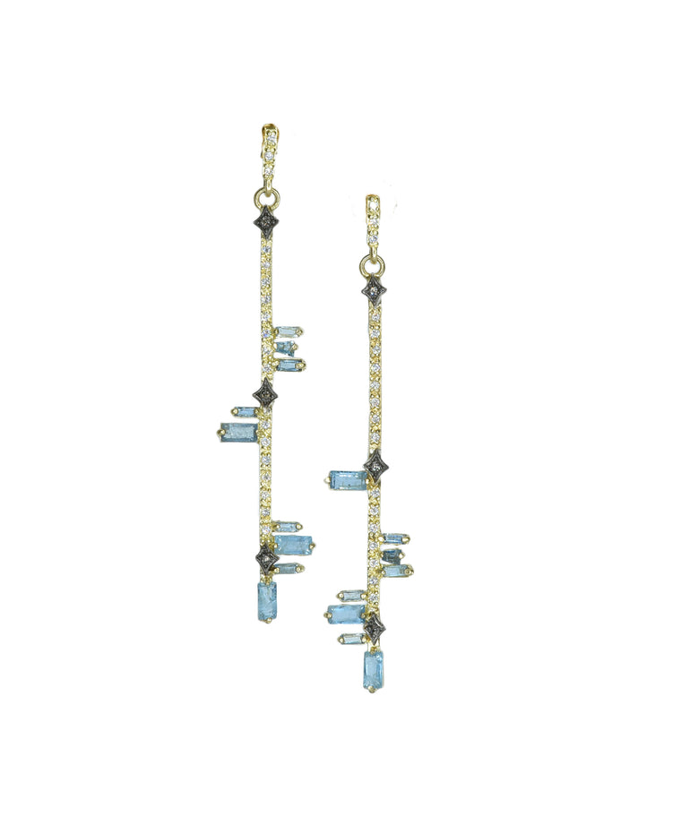 Aquamarine Bar Earrings - Lesley Ann Jewels