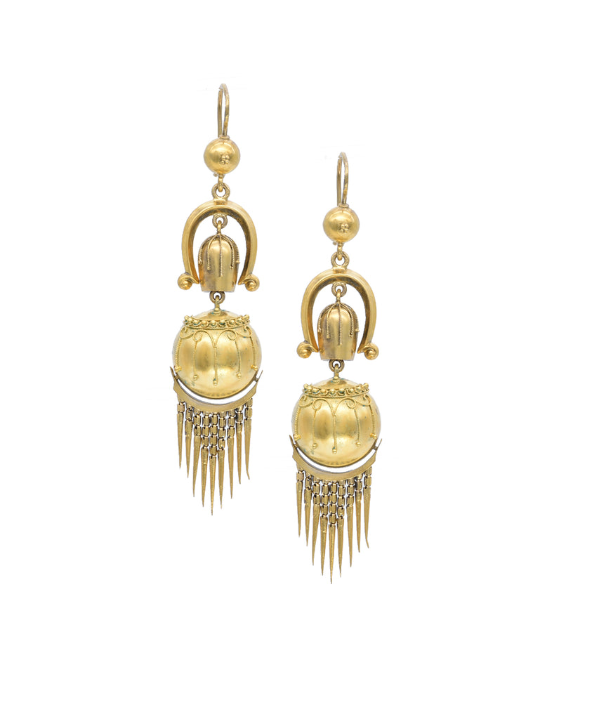 "As stylish today as they were in the 1860's, these highly detailed earrings will add panaché to any outfit. The balls are treated to fine granulation, an ancient jewelry technique. The earrings are hinged and finished with a fine fringe. The earrings are 2 3/4"" long."