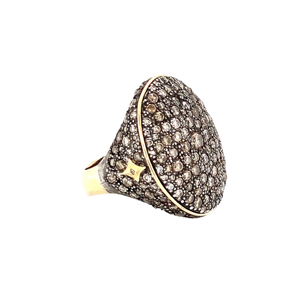 Champagne Diamond Signet Ring - Lesley Ann Jewels