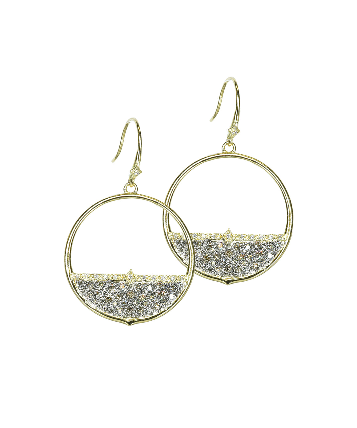 Open circle pavé diamond earrings