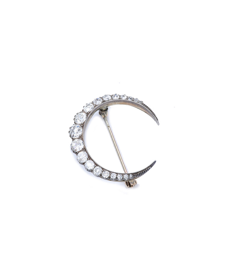 Classic Diamond Crescent Brooch