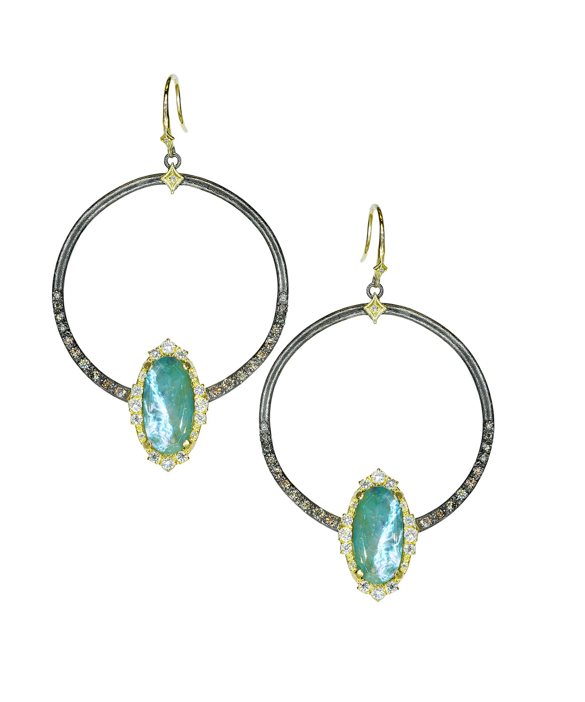 Circle earrings with Peruvian opal - Lesley Ann Jewels