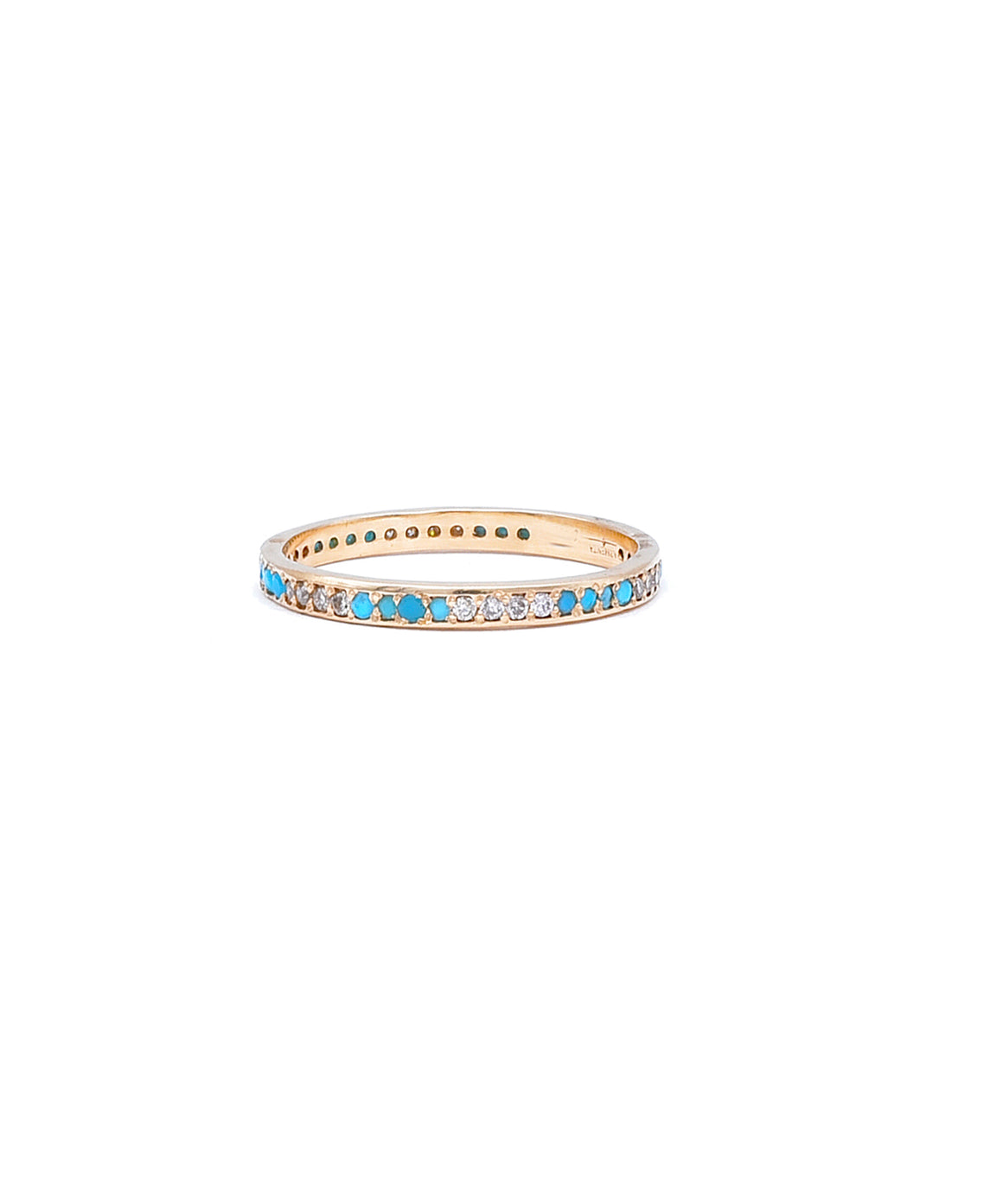 Eternity band with diamonds and turquoise