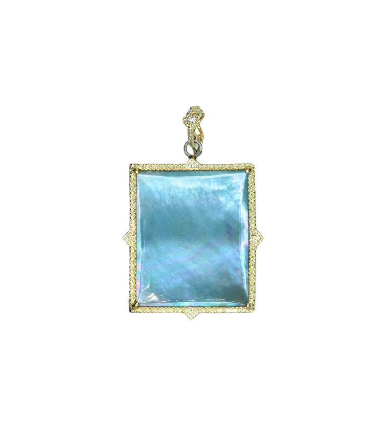 Square Peruvian opal enhancer - Lesley Ann Jewels
