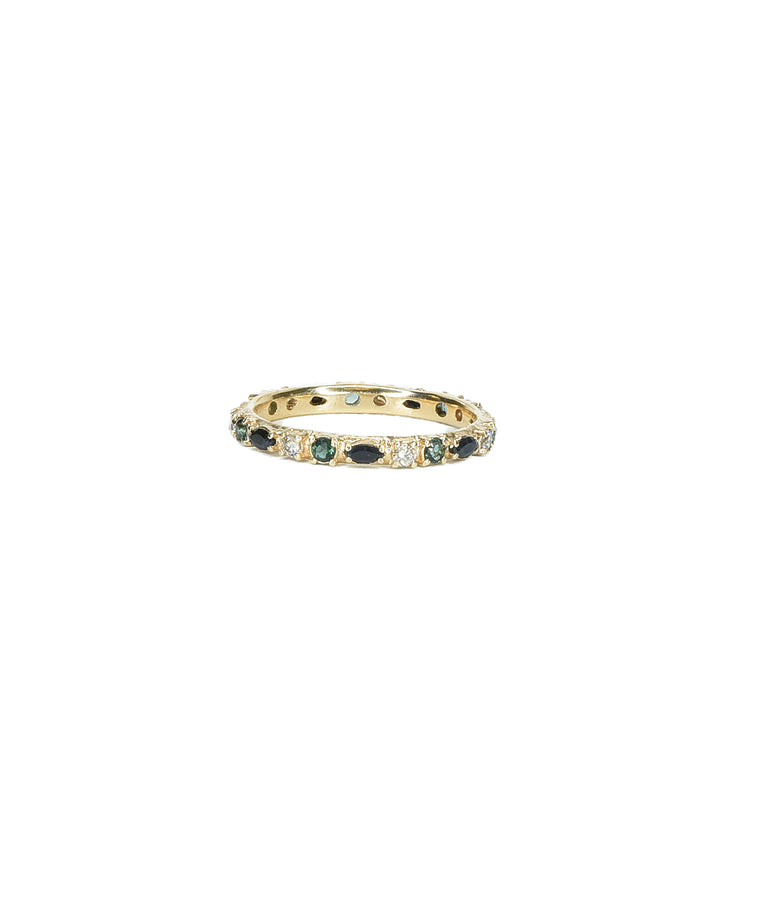 Eternity band with sapphires and tourmaline