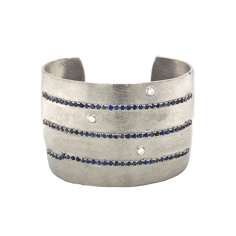 Silver Cuff with Sapphires and Diamonds - Lesley Ann Jewels