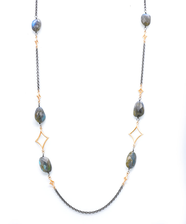 "This is perfect to layer. The18k yellow go,d and sterling silver necklace is strung with six faceted labradorite ovals. The necklace adjusts from 32"" to 34""."