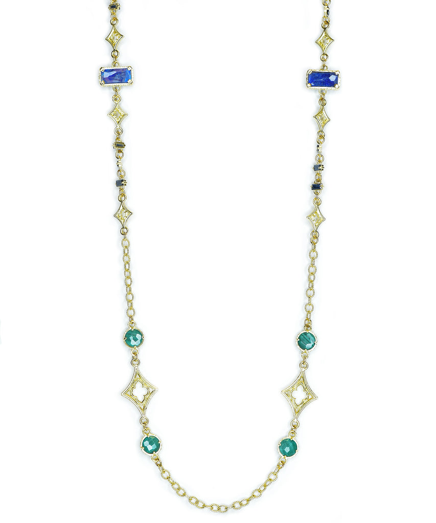 Multi Stone Yellow Gold Chain - Lesley Ann Jewels