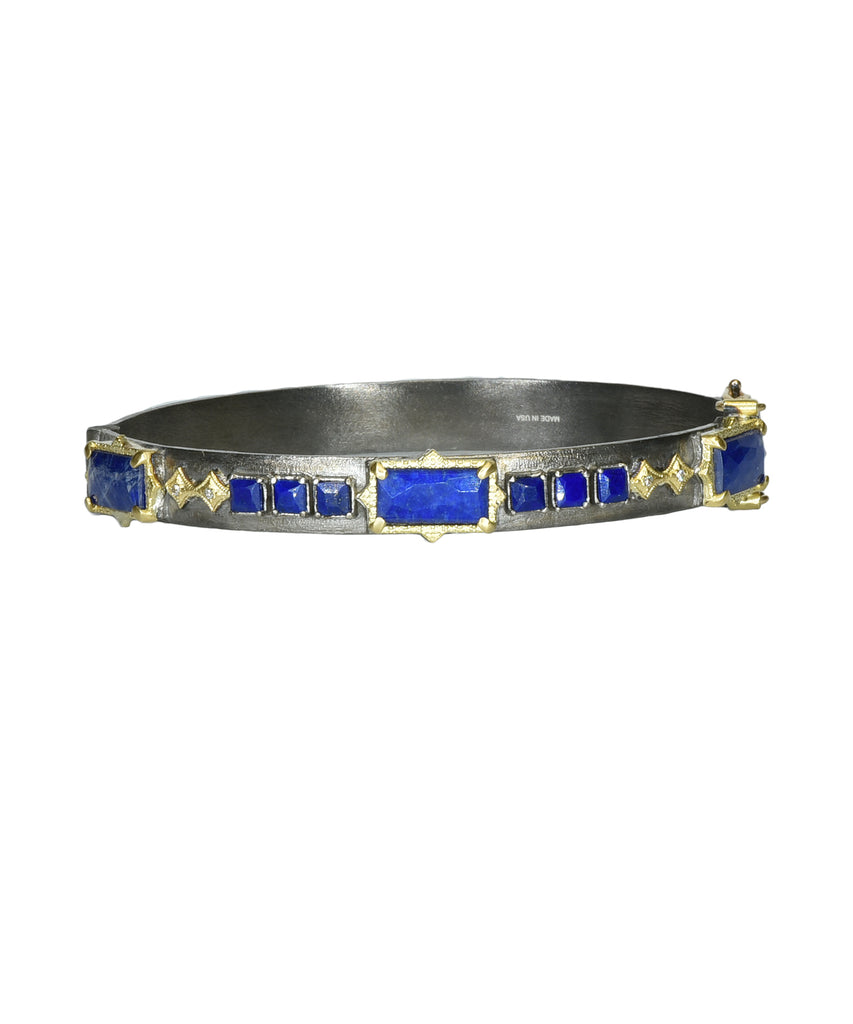 Hinged bracelet with lapis - Lesley Ann Jewels