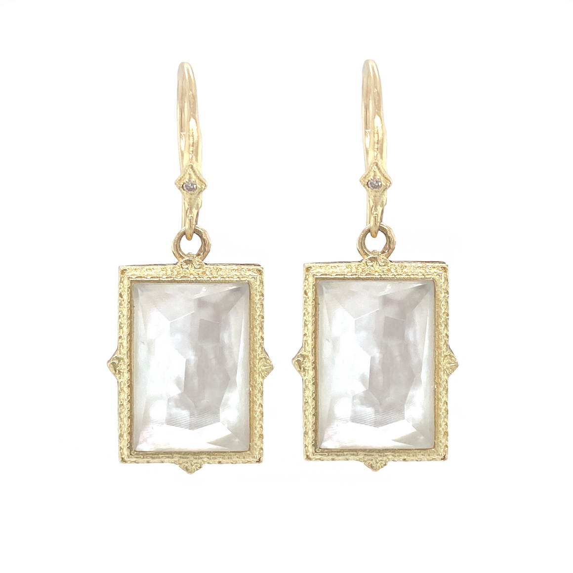 Mother of Pearl and White Topaz Earrings - Lesley Ann Jewels