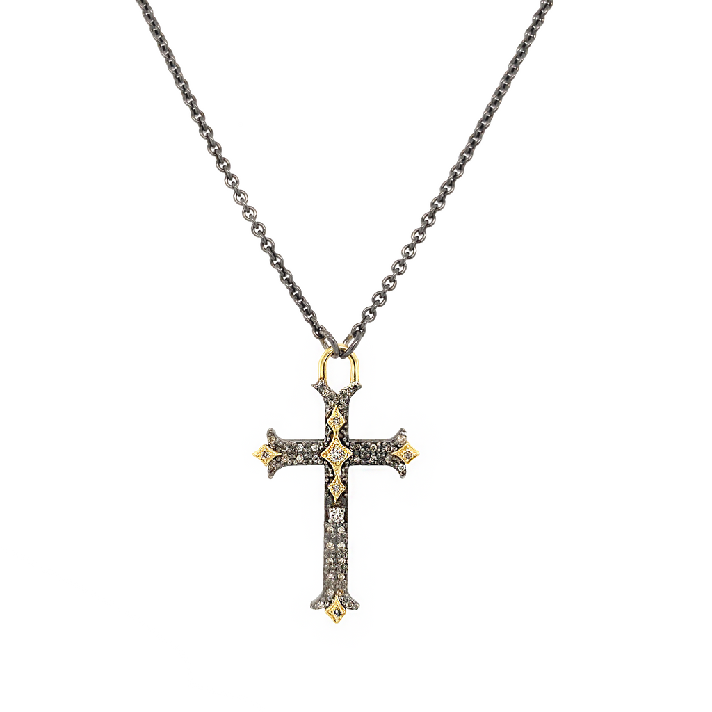 Champagne Diamond Small Crivelli Cross - Lesley Ann Jewels