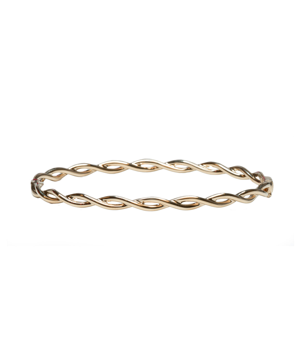 Just a ribbon of rose gold to add to your stack, this hinged oval bangle in 14k rose gold is 3.5 mm wide.