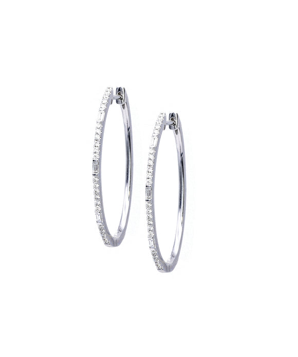 Oval hoop earrings with baguettes