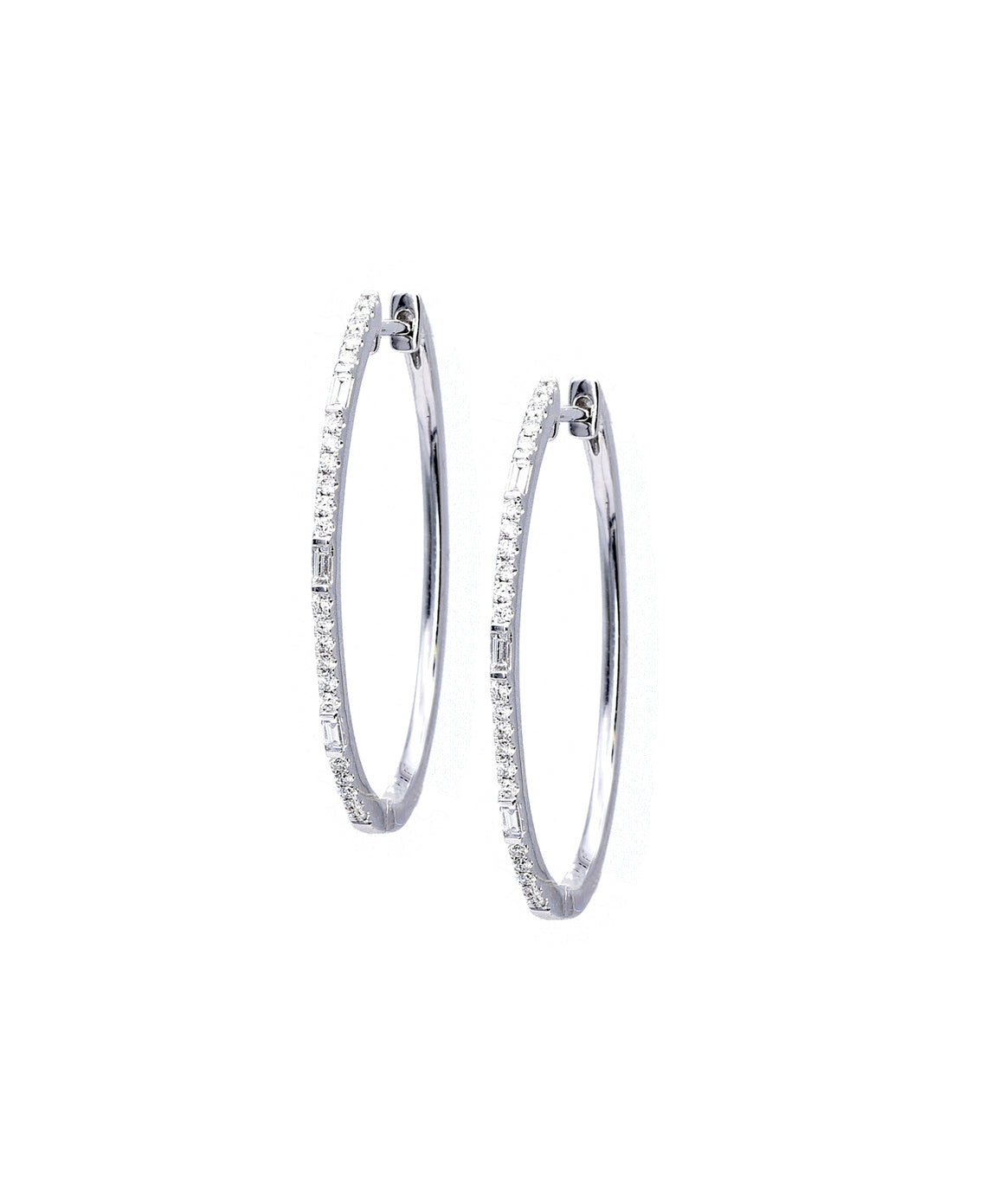 Oval hoop earrings with baguettes - Lesley Ann Jewels