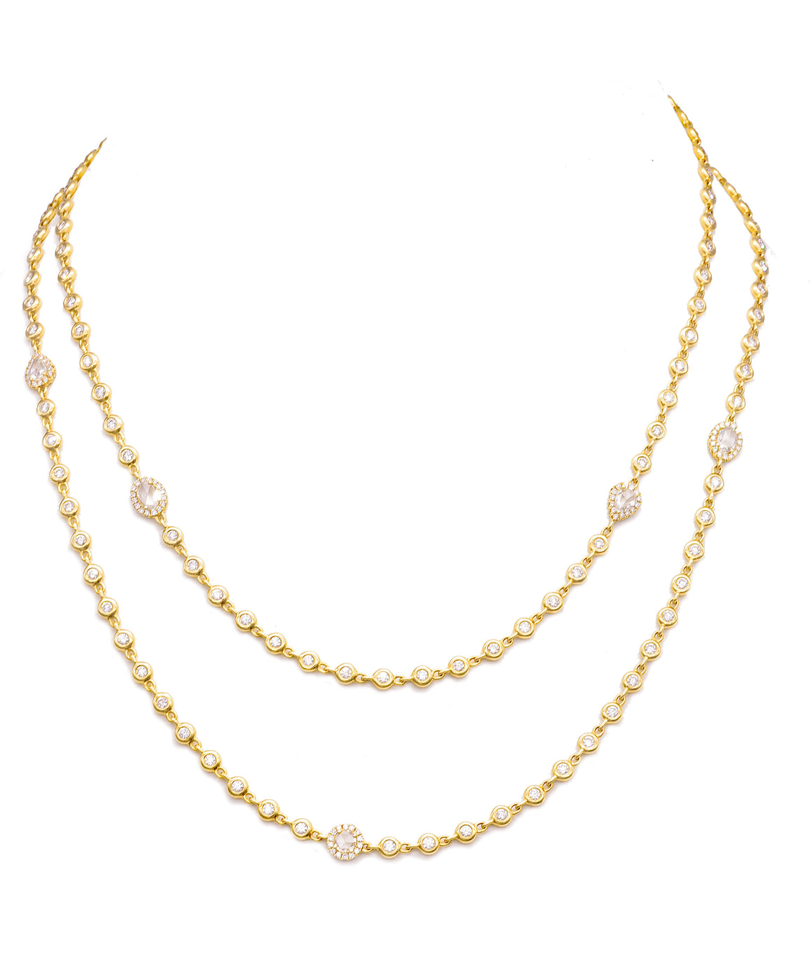 Cascade necklace in yellow gold