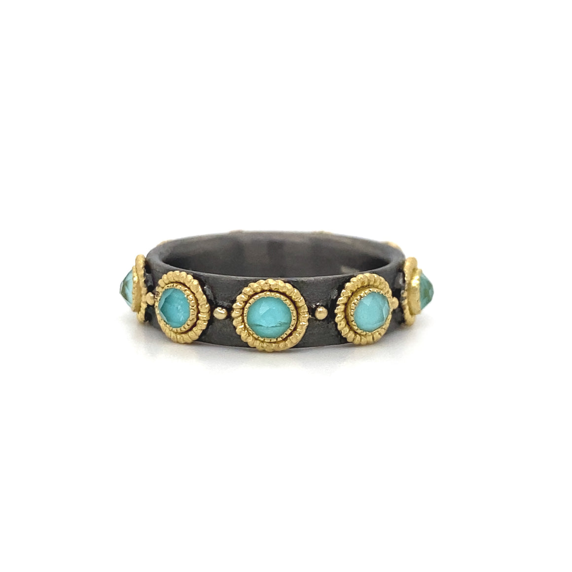 Turquoise and White Quarts Eternity Band - Lesley Ann Jewels