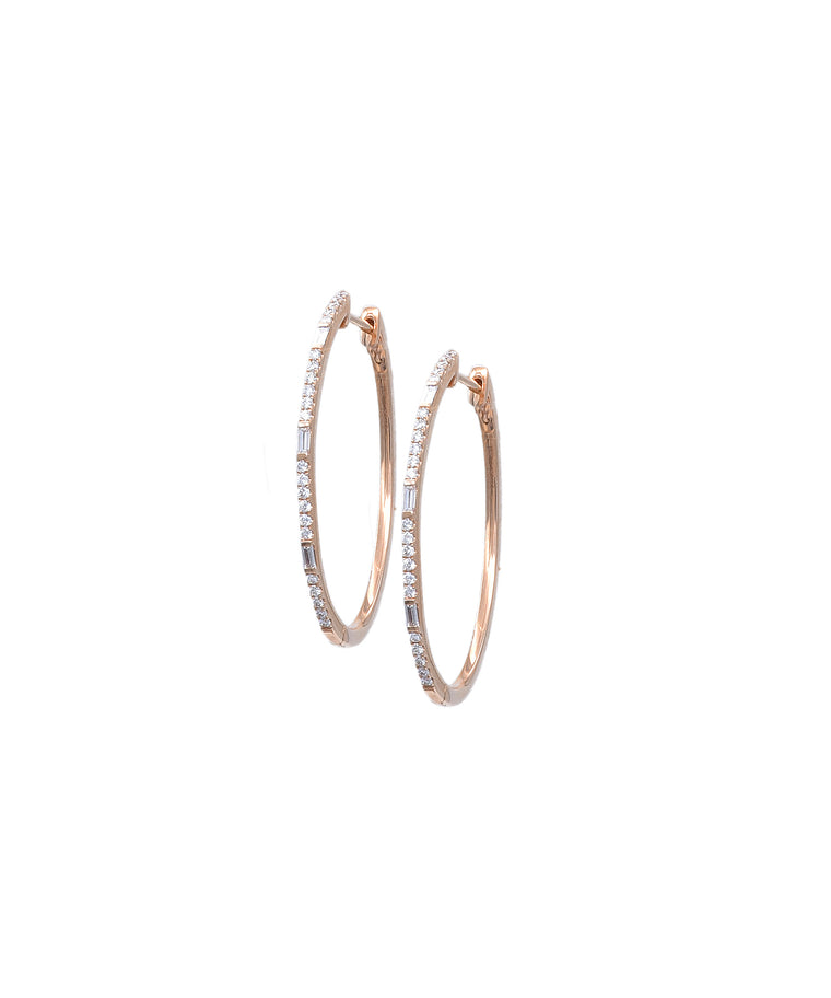 Oval hoops with baguettes - Lesley Ann Jewels