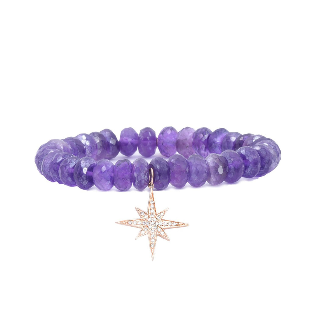 Amethyst Bead Bracelet with Starburst Charm - Lesley Ann Jewels