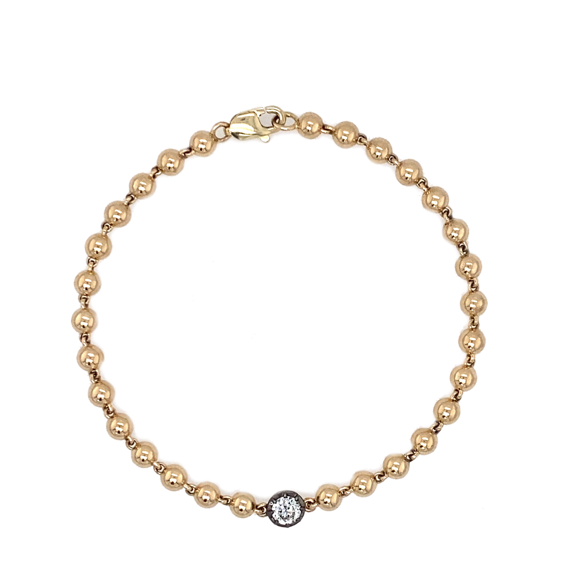 Yellow Gold Collet Bead Bracelet - Lesley Ann Jewels