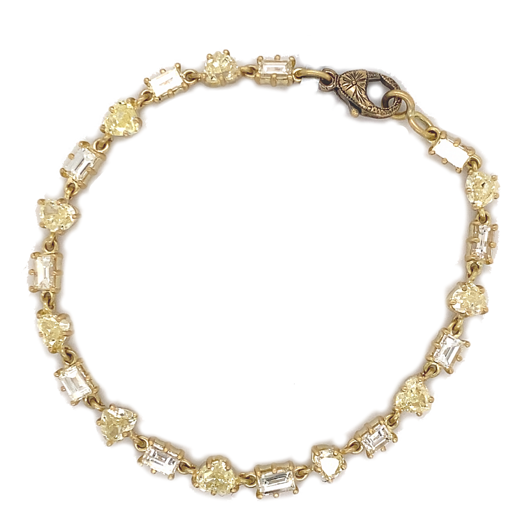 Fancy Yellow and Baguette Diamond Tennis Bracelet - Lesley Ann Jewels