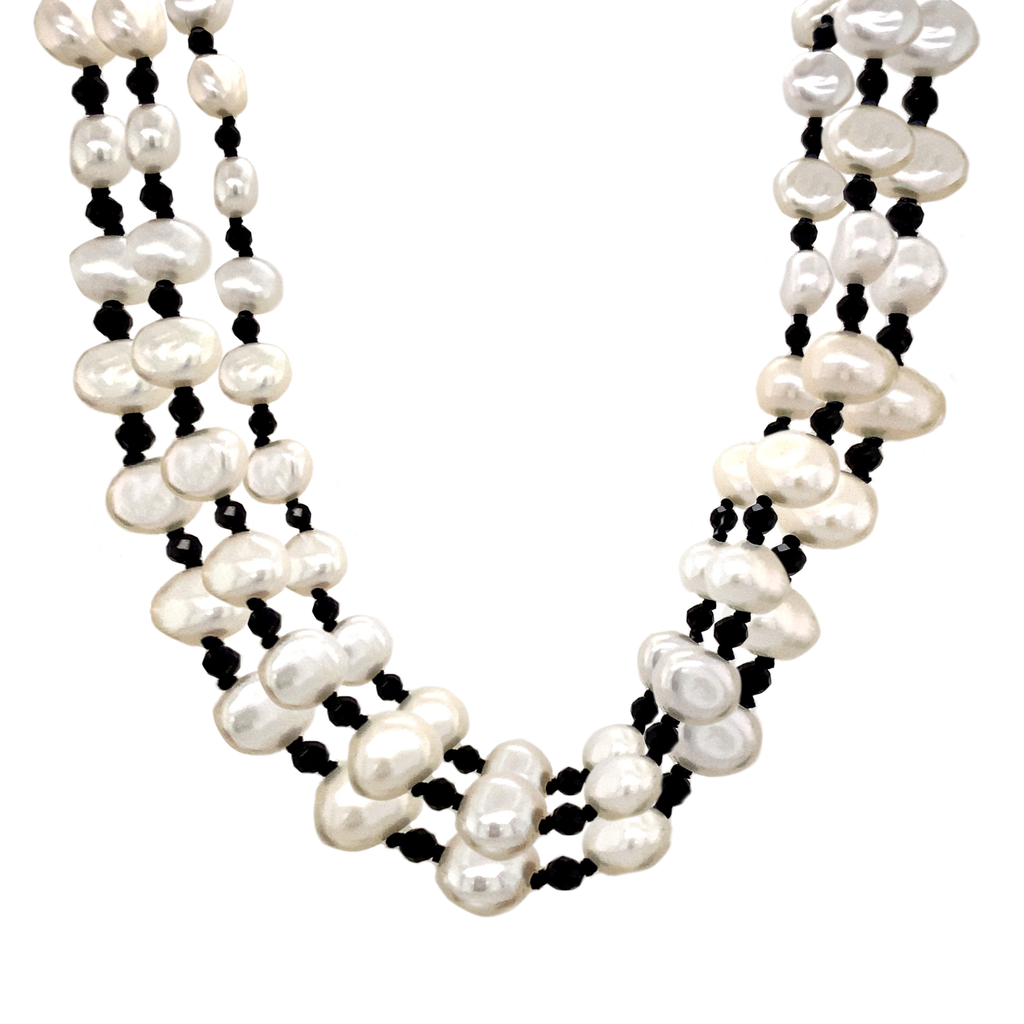 3 Strand Potato Pearl and Black Spinel Necklace - Lesley Ann Jewels